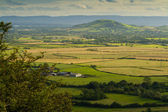 Brent Knoll Somerset viewed from Crook Peak — Stock Photo