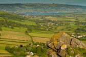 View from Crook Peak towards Cheddar Reservoir in Somerset England — Stock Photo