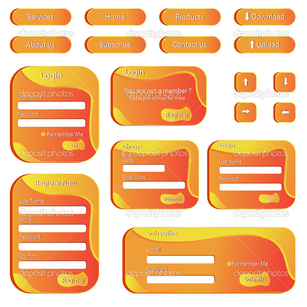 Vector illustration of set of web template with button and form — Stock Vector #10989721