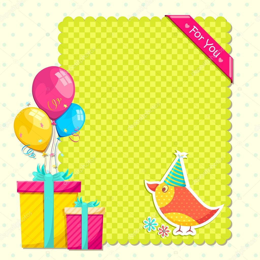 Vector illustration of colorful happy birthday gift with bird — Stock Vector #10991858