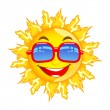 Stock Vector: Sun with Sunglasses