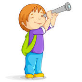 Boy with Telescope — Stock Vector