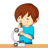 Kid with Microscope — Stock Vector