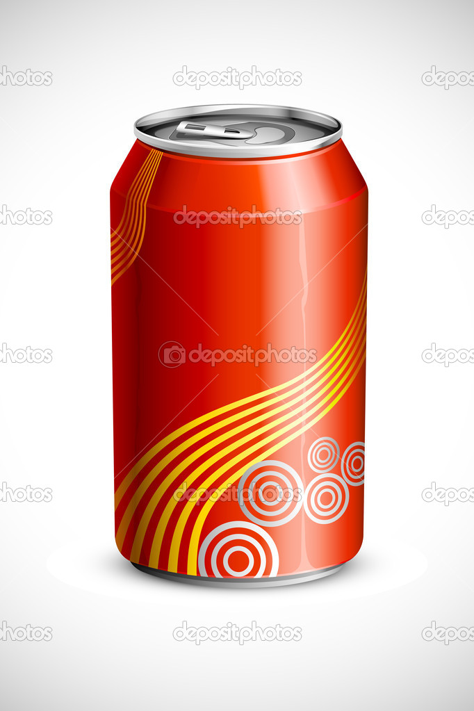 Vector illustration of empty cold drink can against abstract background — Stock Vector #11133128