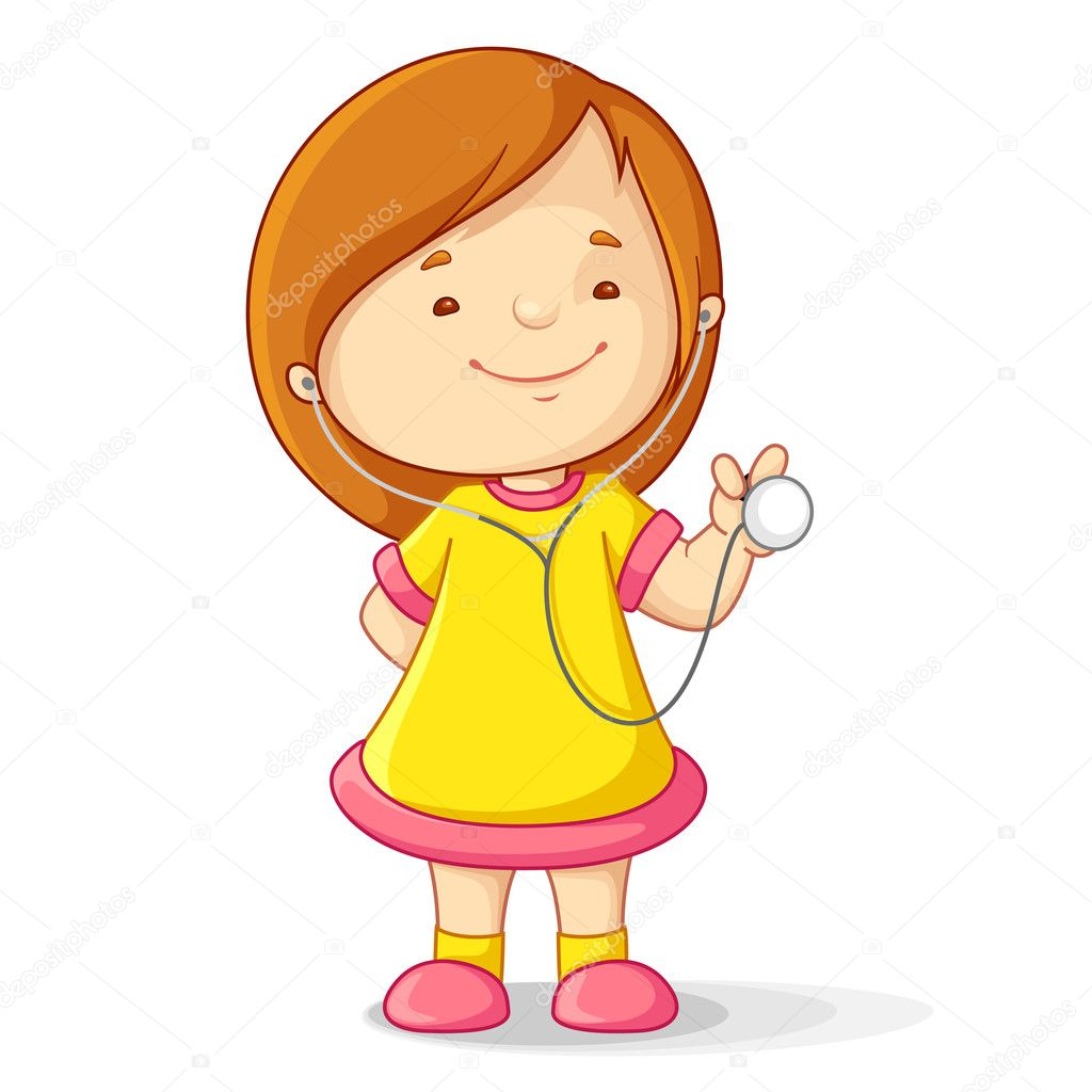 Vector illustration of baby girl with stethoscope — Stock Vector #11133240