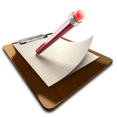3d Image of Pencil on Clipboard — Stock Photo