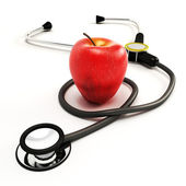Stethoscope with Apple — Stock Photo