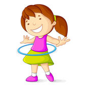 Girl Playing with Hula Hoop — Stock Vector