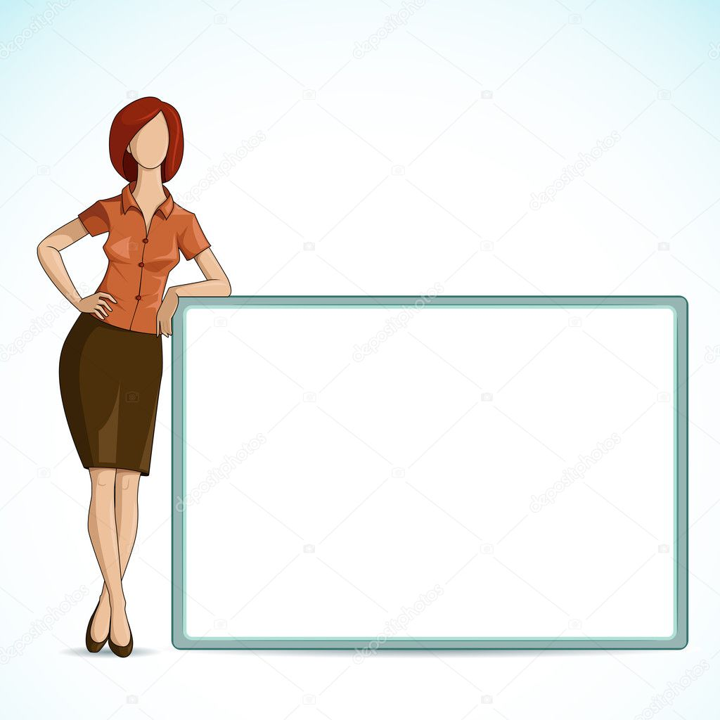 Vector illustration of business lady holding blank placard — Stock Vector #11448756