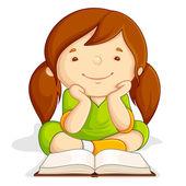 Girl reading Open Book — Stock Vector