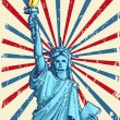 Royalty-Free Stock Vector Image: Statue of Liberty on American Flag Backdrop