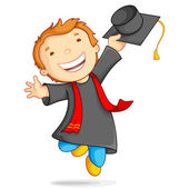 Boy in Graduation Gown — Stock Vector