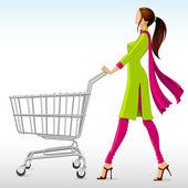 Uygarlığımıza bayan takım elbise ile alışveriş sepeti — Stok Vektör