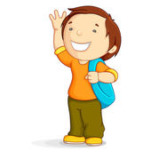 Kid with School Bag — Stock Vector