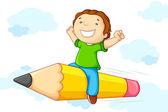 Kid flying on Pencil — Stock Vector
