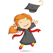 Girl in Graduation Gown — Stock Vector