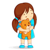 Baby Girl with Teddy Bear — Stock Vector