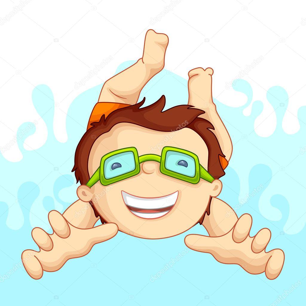 Kid in Swimming Pool — Stock Vector © stockshoppe #11506705
