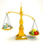 Medicine Versus Nutrition — Stock Photo