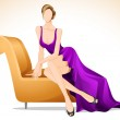 Lady Sitting in Sofa — Stock Vector