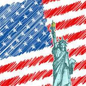 Estátua da liberdade em pano de fundo bandeira americana — Vetorial Stock