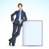 Business Man with Empty Board — Stock Vector