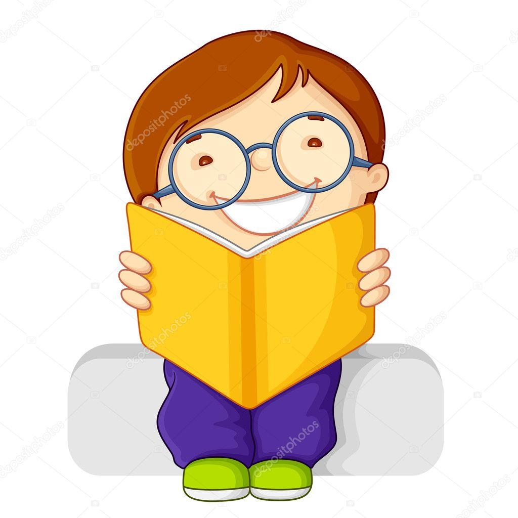 Kids Reading Vector Reading Open Book — Vector