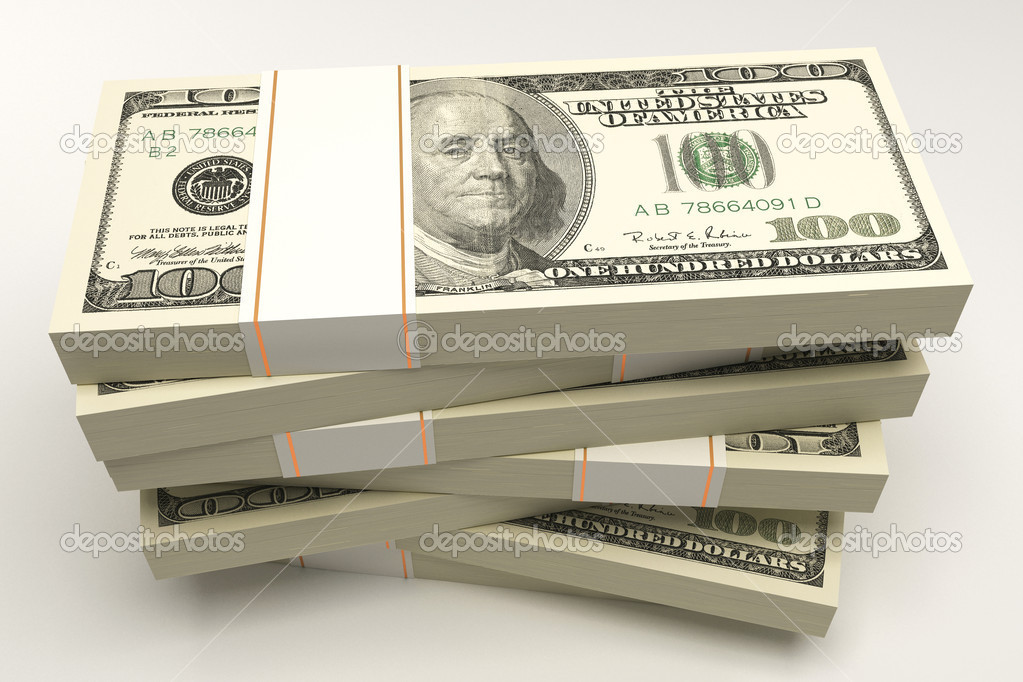 Illustration of 3d image of bundle of dollar note — Stock Photo #11705996