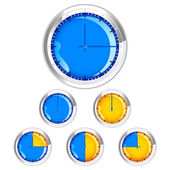Clock showing different time — Stock Vector