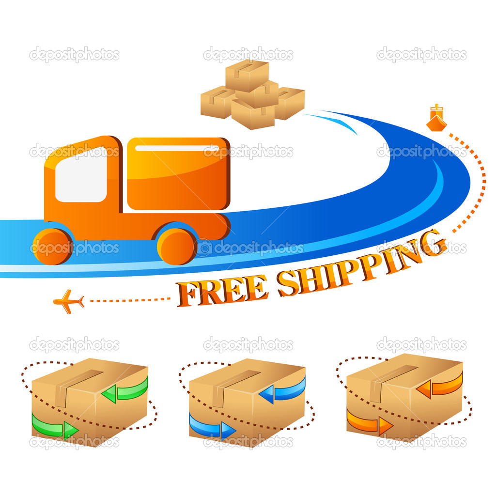 Vector illustration of free shipping trolley with carton box — Stock Vector #11729845