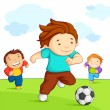 Kids playing Soccer — Stock Vector #11734119
