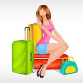Girl sitting with baggage — Stock Vector