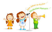 Kid singing Indian Song — Stock Vector