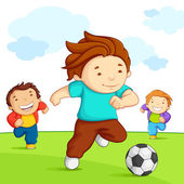Kids playing Soccer — Stock Vector