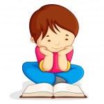 Boy reading Open Book — Stock Vector
