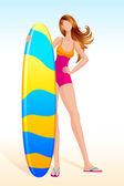 Dame avec planche de surf — Vecteur