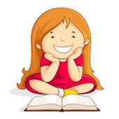 Kid reading Open Book — Stock Vector