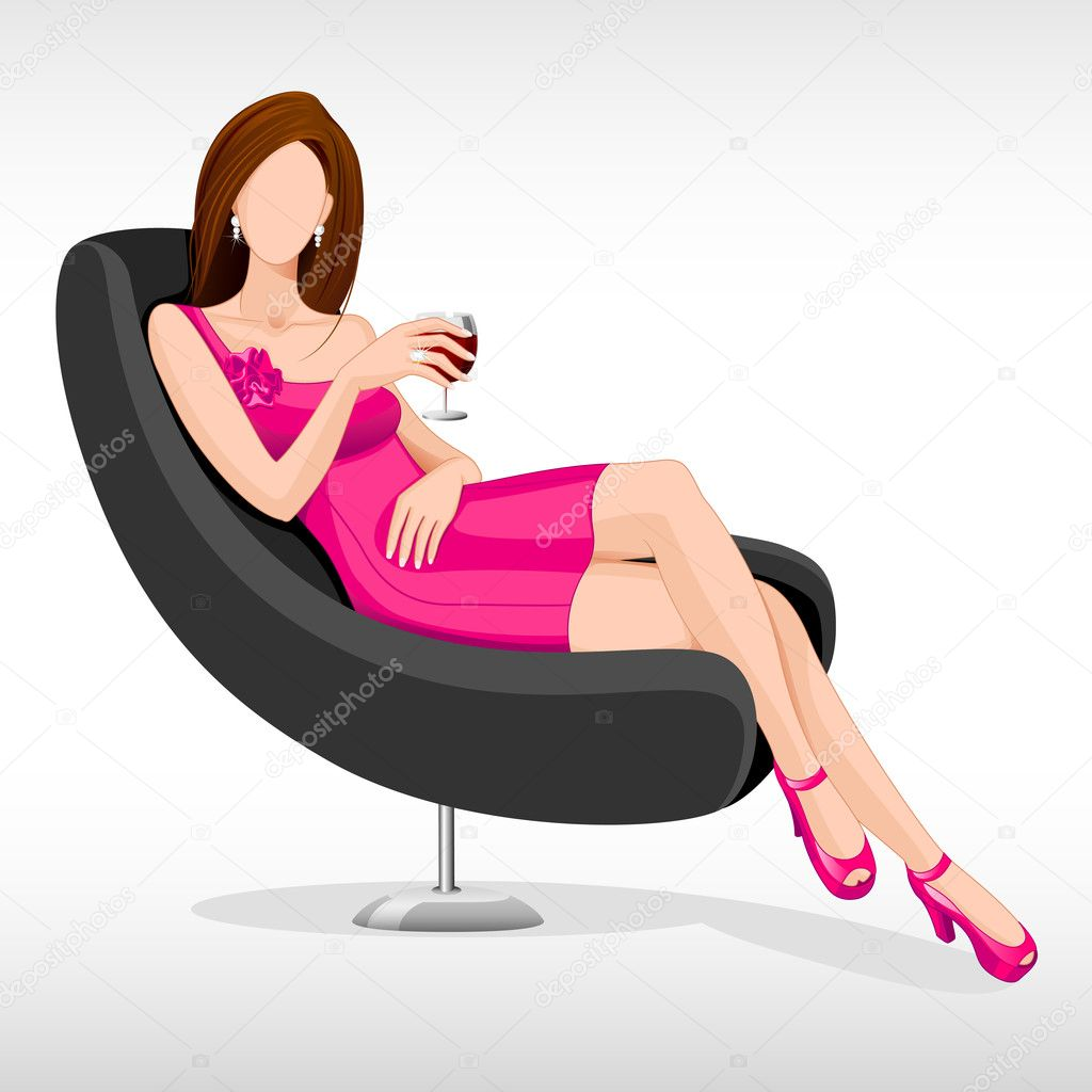 Vector illustration of lady sitting in couch with drink in hand  Stock Vector #11850420