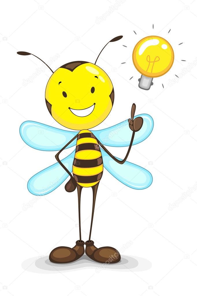Vector illustration of bee with idea bulb above head — Stock Vector #11850432