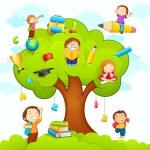 Kids studying on Tree — Stock Vector