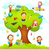 Kids studying on Tree — 图库矢量图片