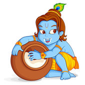 Lord Krishna stealing makhaan — Stock Vector