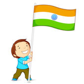 Boy Holding Indian Flag — Stock Vector