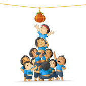 Boys breaking Dahi Handi — Stock Vector