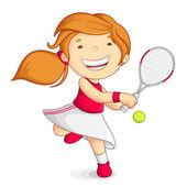 Chica vector jugando al tenis — Vector de stock
