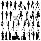 Silhouet van vrouw — Stockvector