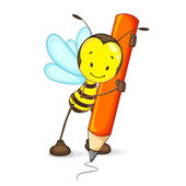 Bee Drawing with Pencil — Stock Vector