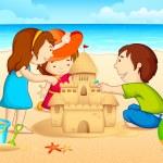 砂の城を作る子供たち — ストックベクタ