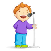 Singing School Boy — Stock Vector