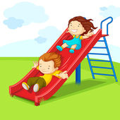 Kids on Slide — Stockvector